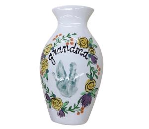 Voorhees Floral Handprint Vase